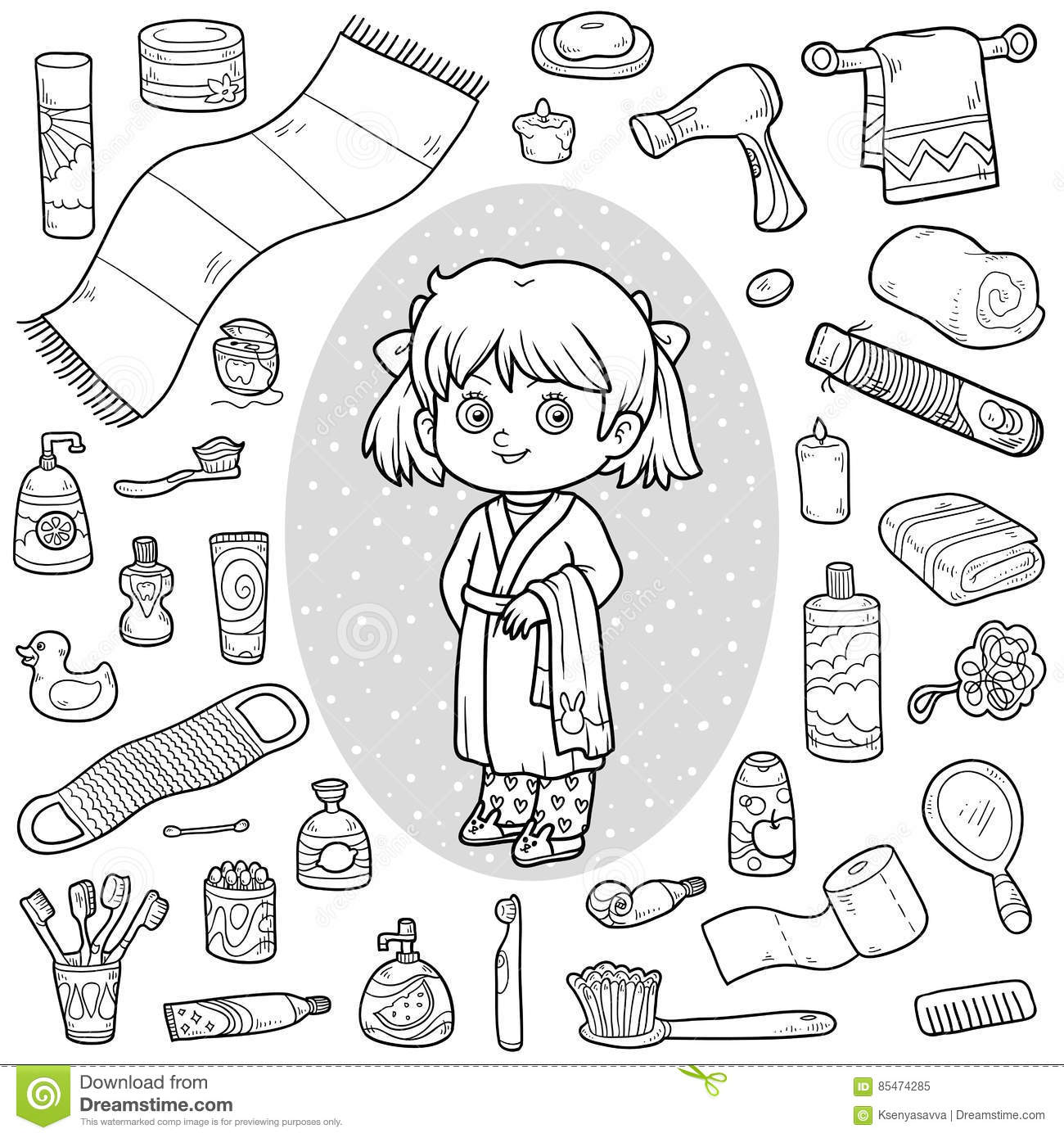 Cartoon hygiene objects coloring page cartoon vector for Personal hygiene coloring pages
