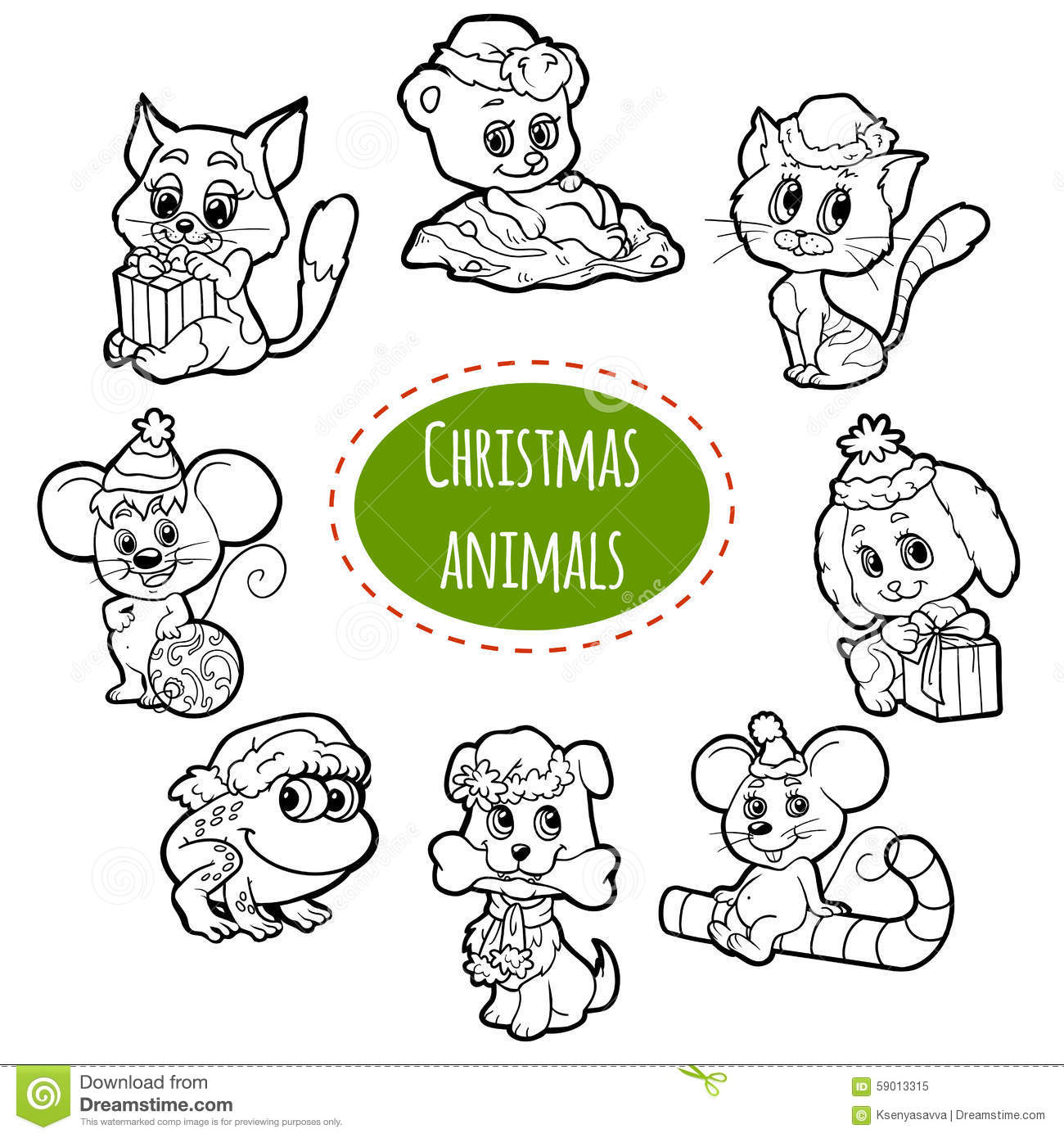Vector Colorless Set Of Christmas Cute Animals Stock Vector ...