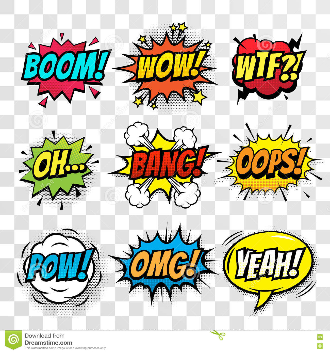 vector comic speech bubbles set with words stock illustration