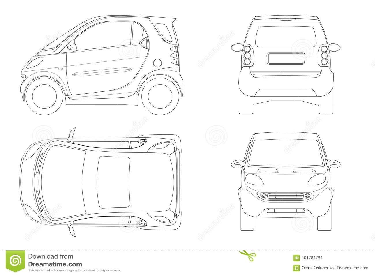 Vector Compact Smart Car In Outline Small Compact Hybrid