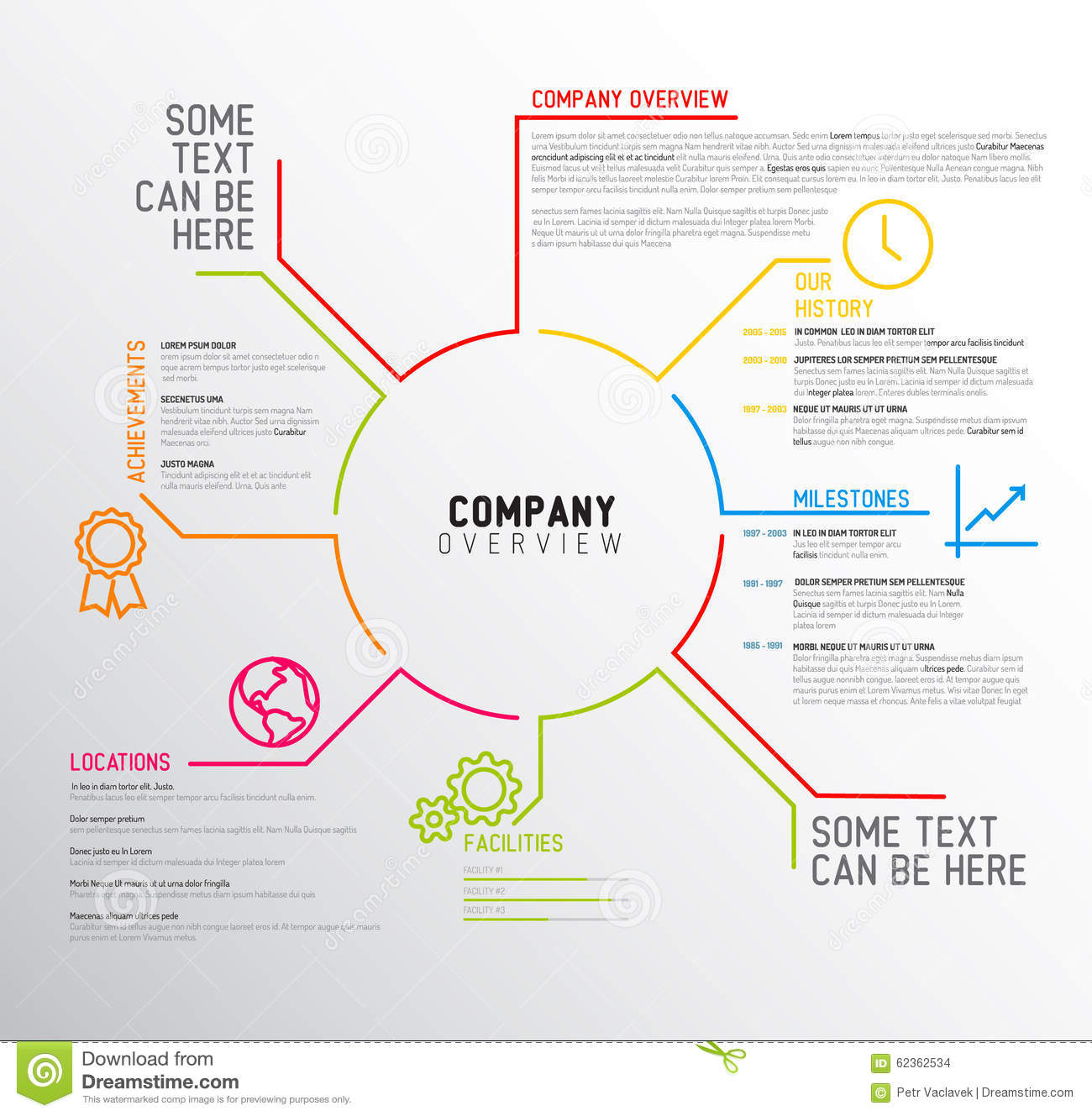 Vector company infographic overview design template stock for Information technology company profile template