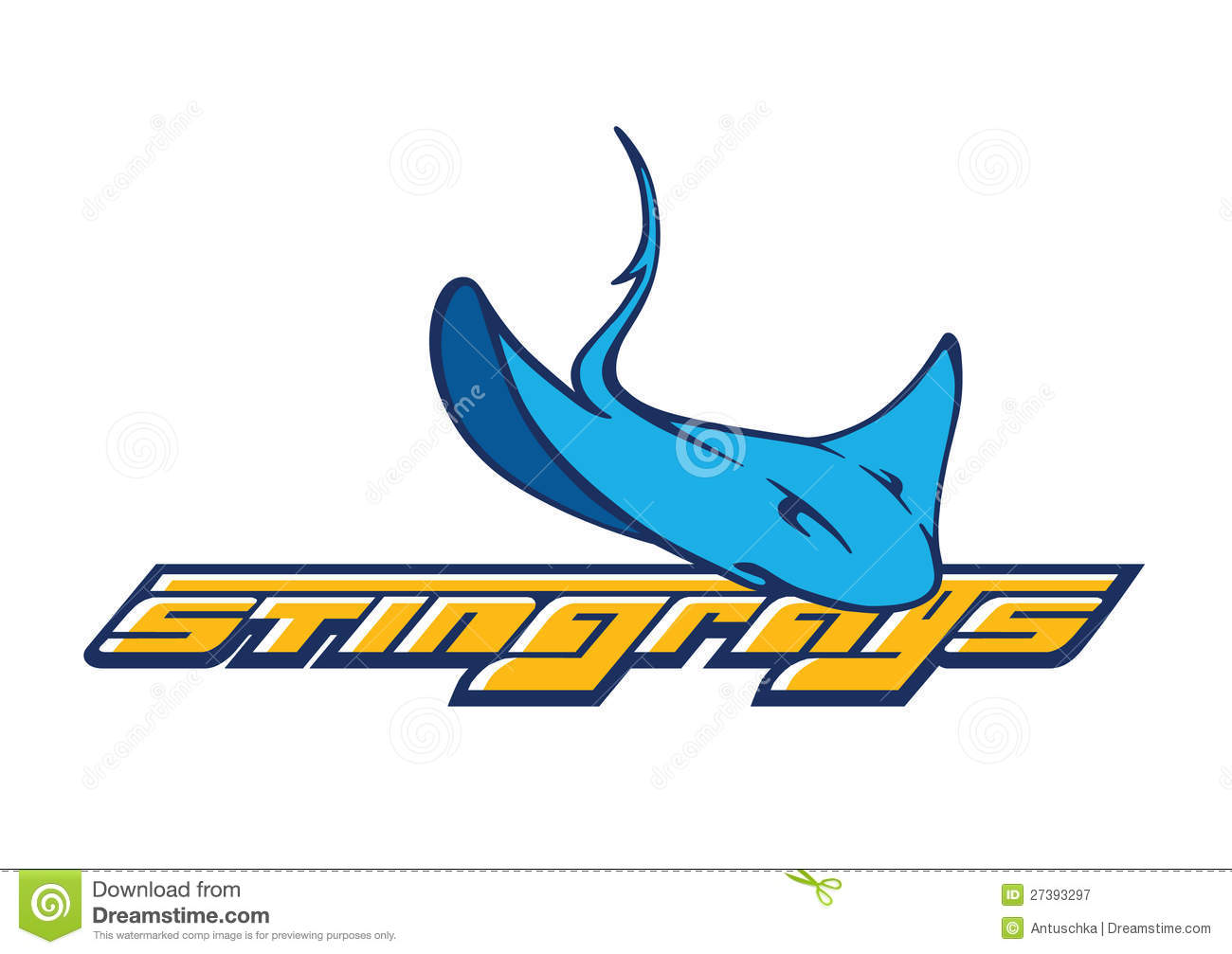 vector company logo with stingray icon stock illustration