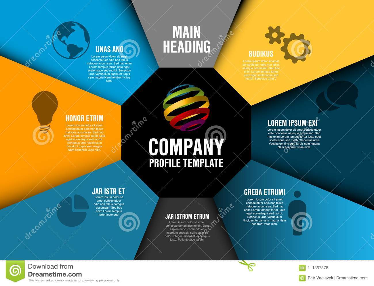vector company profile infographic diagram template stock
