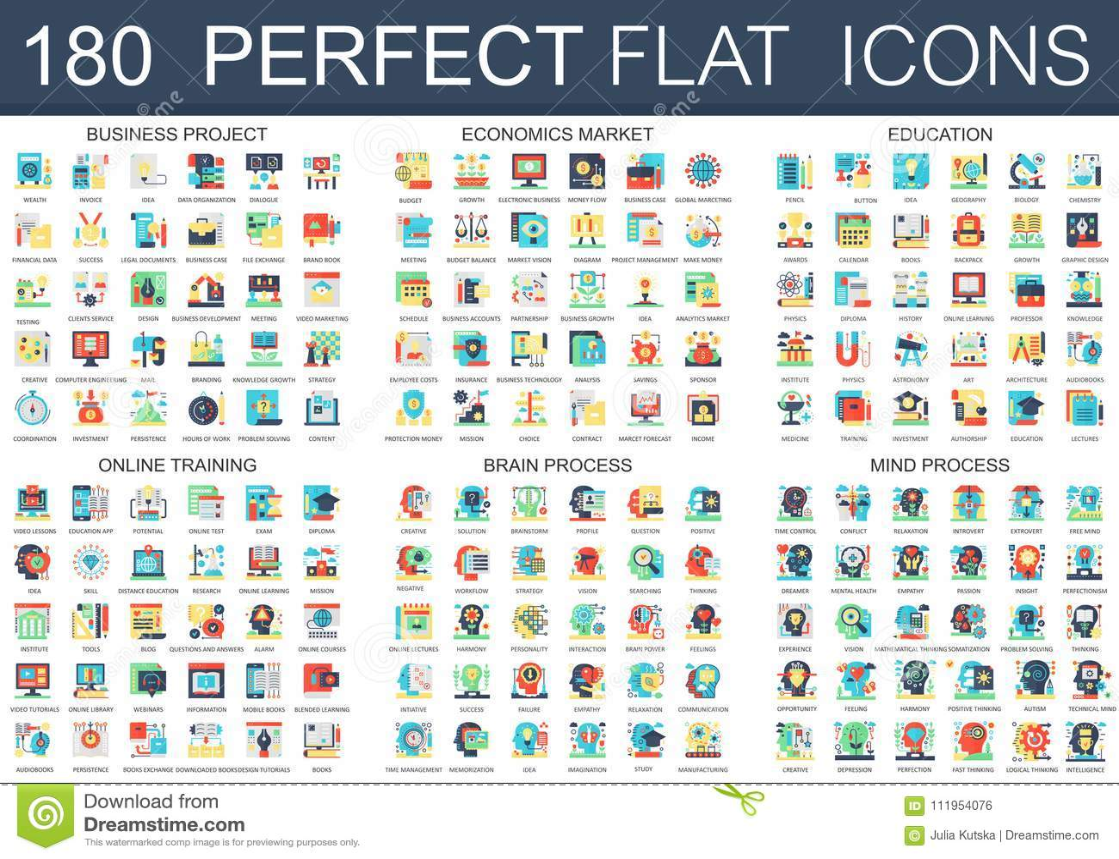 180 vector complex flat icons concept symbols of business project, economics market, education, online training, brain