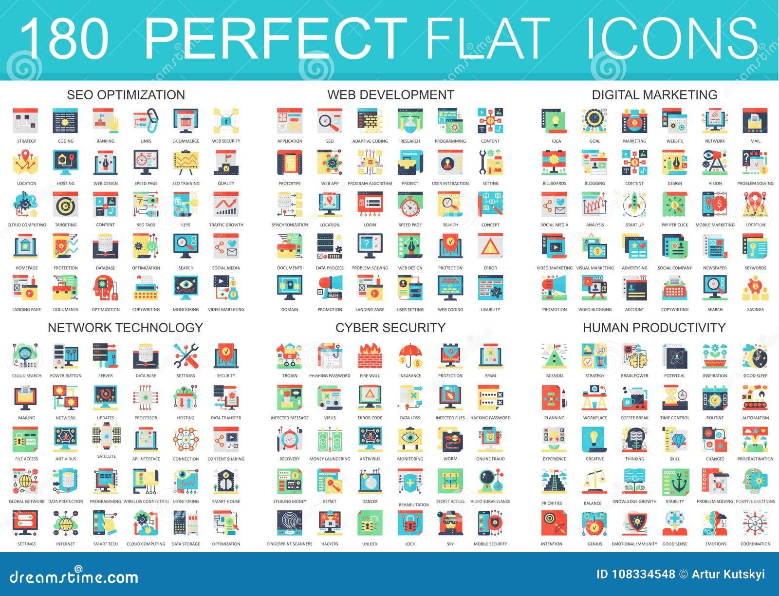 180 vector complexe vlakke symbolen van het pictogrammenconcept van seooptimalisering, Webontwikkeling, digitale marketing, netwe