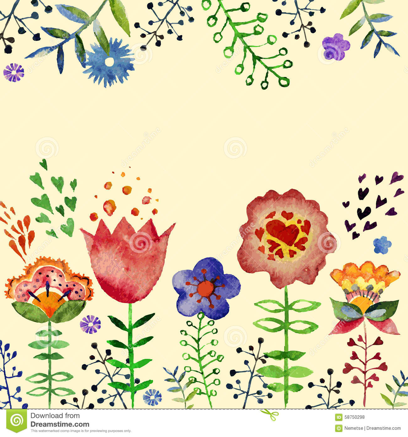 Vector composition with pretty watercolor flowers stock vector vector composition with pretty watercolor flowers mightylinksfo