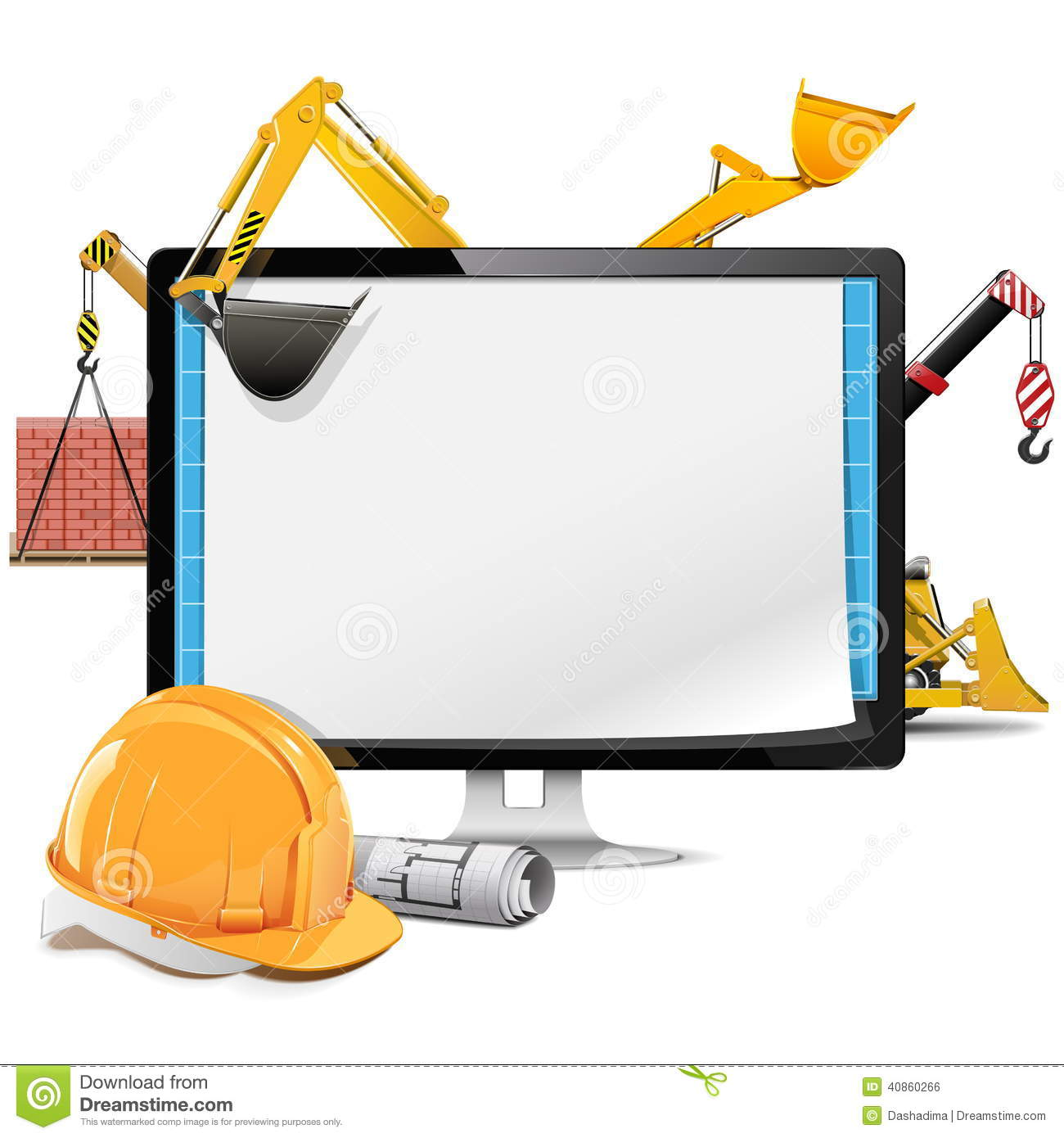 Vector Computer Construction Project Stock Vector Image