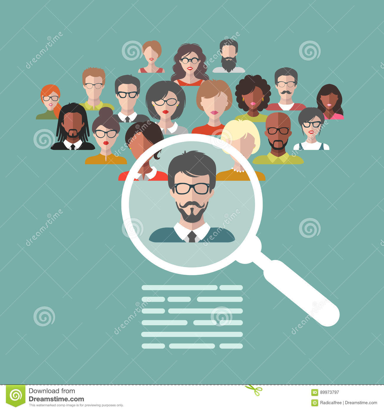 vector concept of human resources management professional staff vector concept of human resources management professional staff research head hunter job magnifying