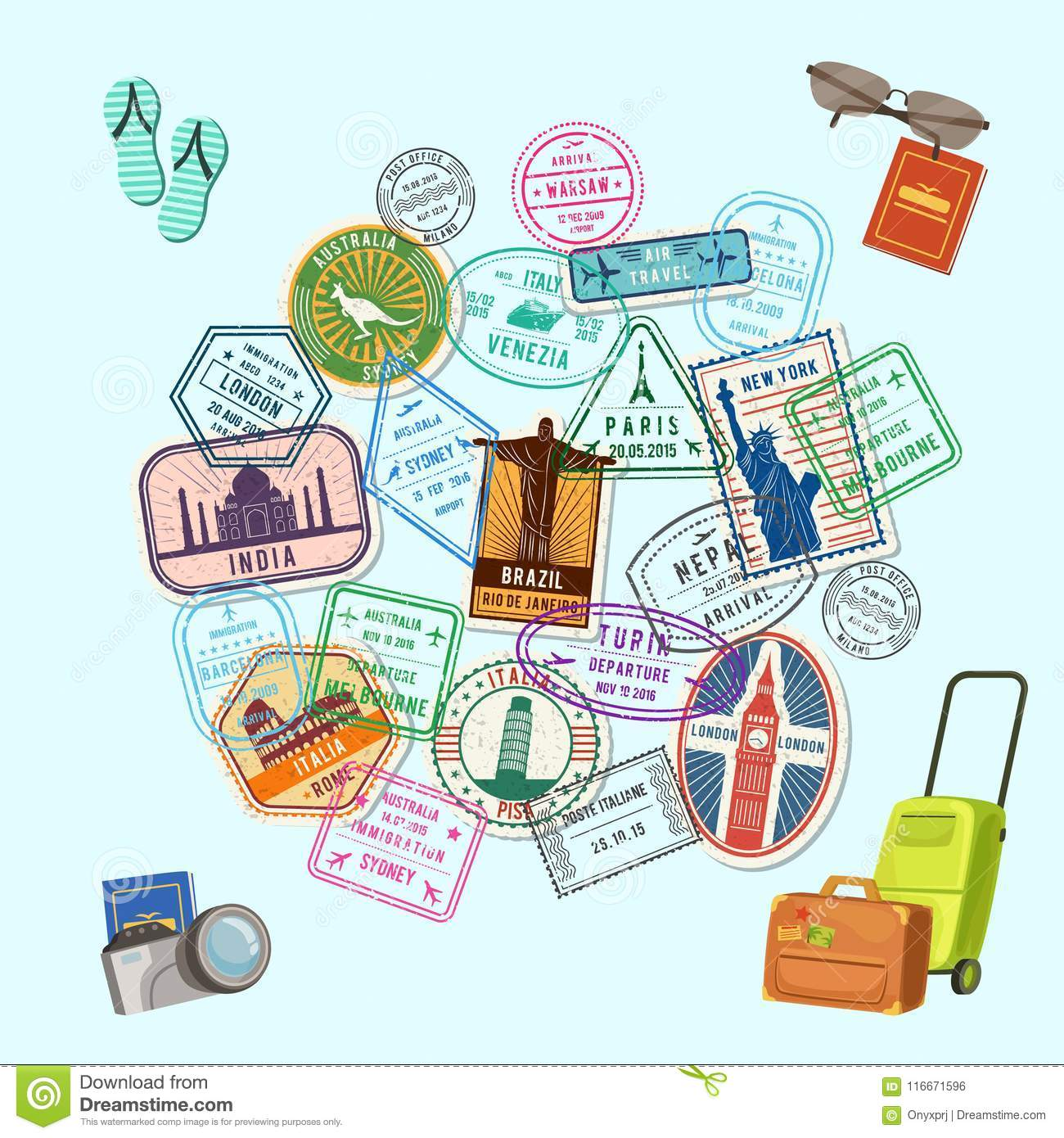 Approved Stamps Cartoon Vector