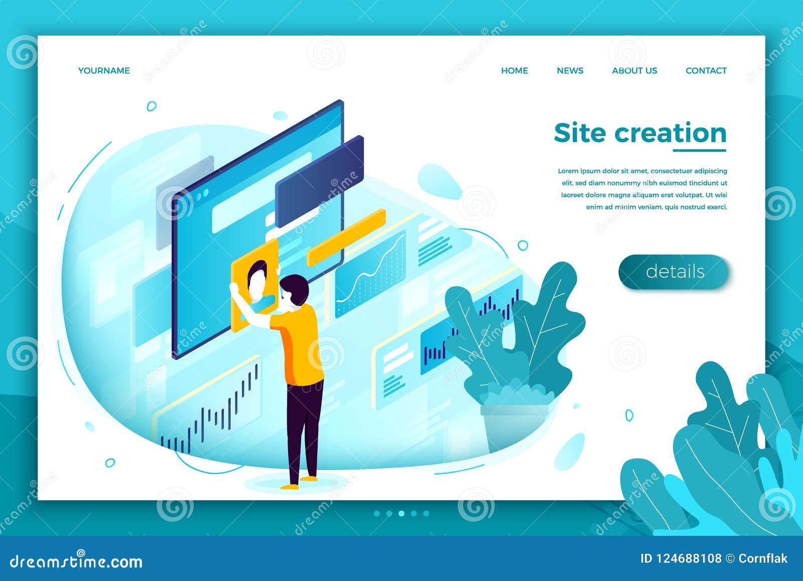Vector concept illustration, site creation process