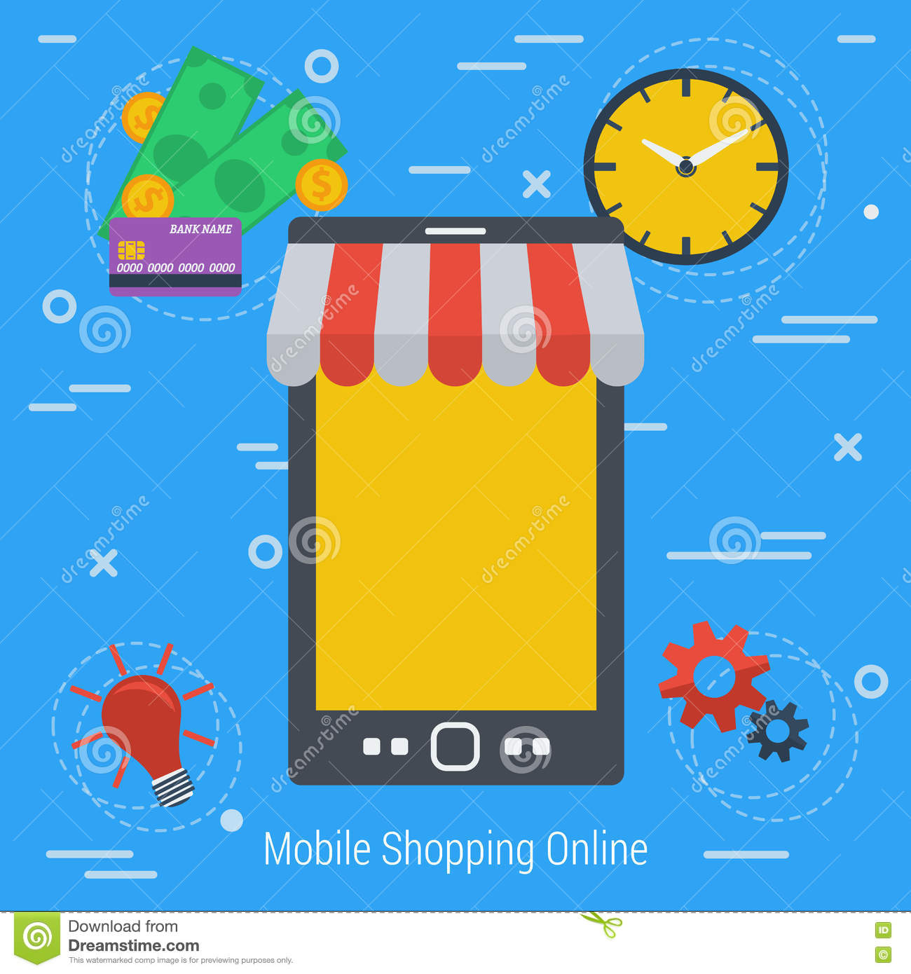 Vector concept mobile online market stock vector image for Shopping online mobili