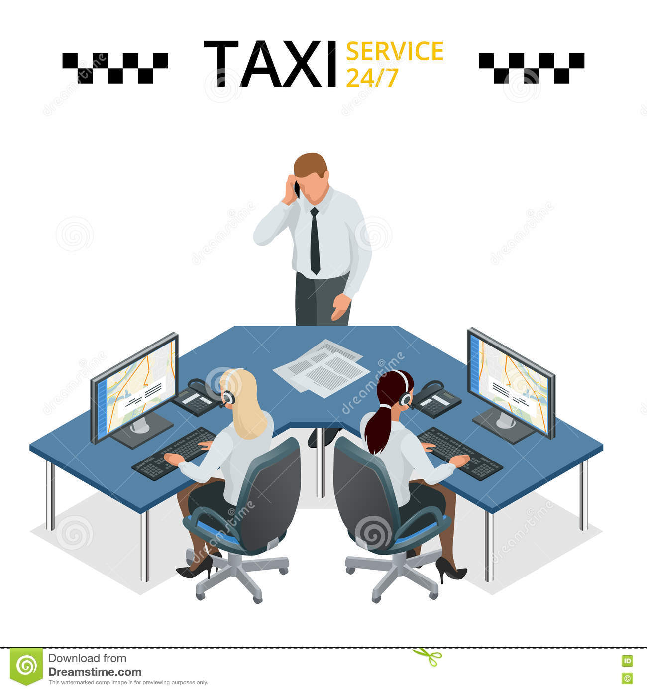 Vector Concept Of Taxi Service, Technical Car Support And