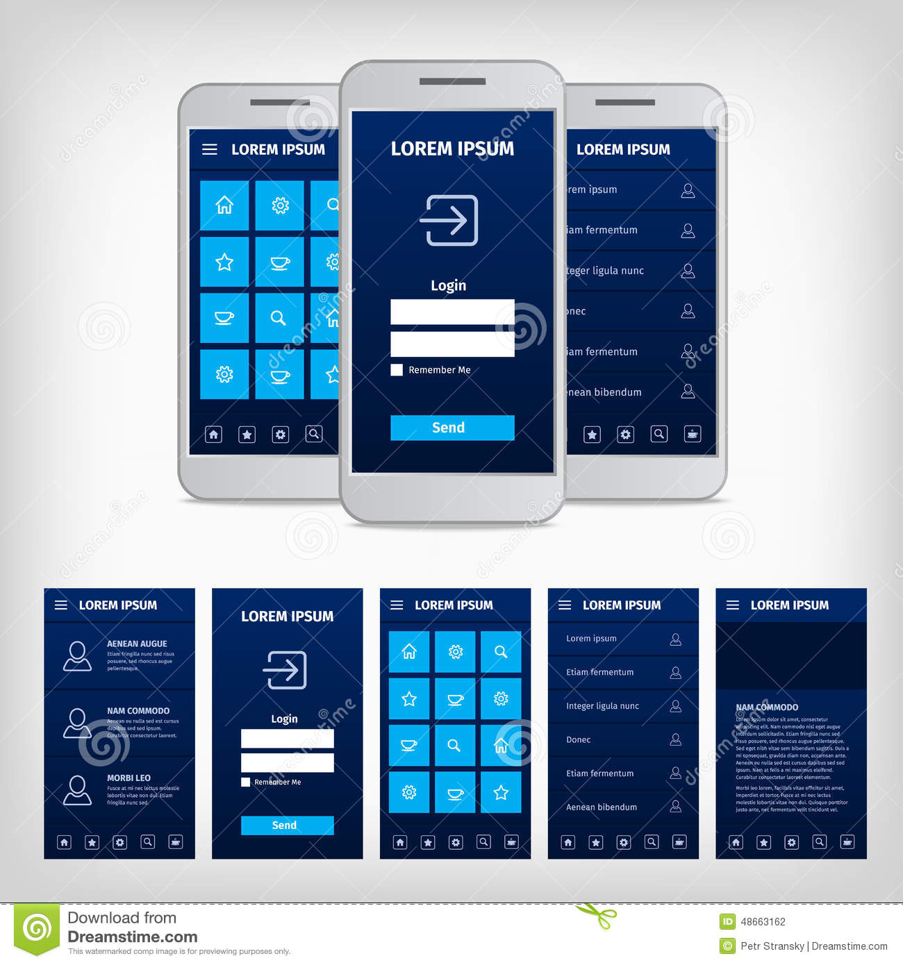 mobile app privacy policy template - vector conception of blue mobile user interface stock