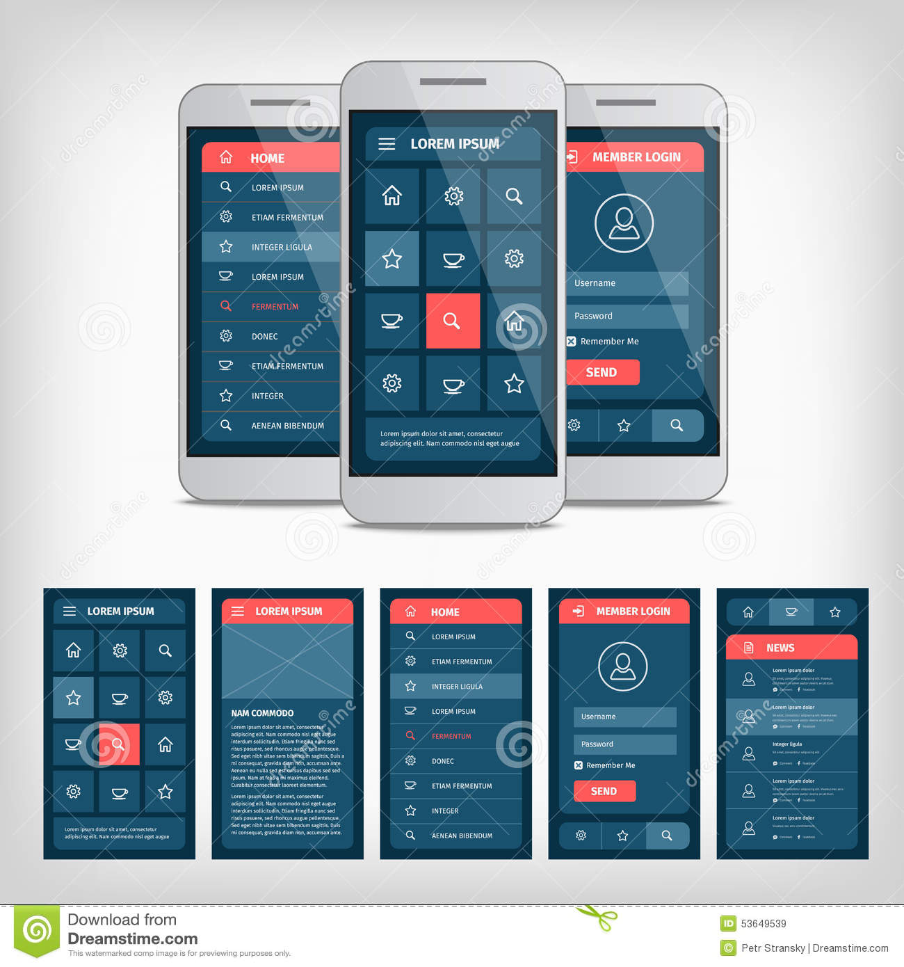 Vector conception of mobile user interface stock vector for Mobile app privacy policy template