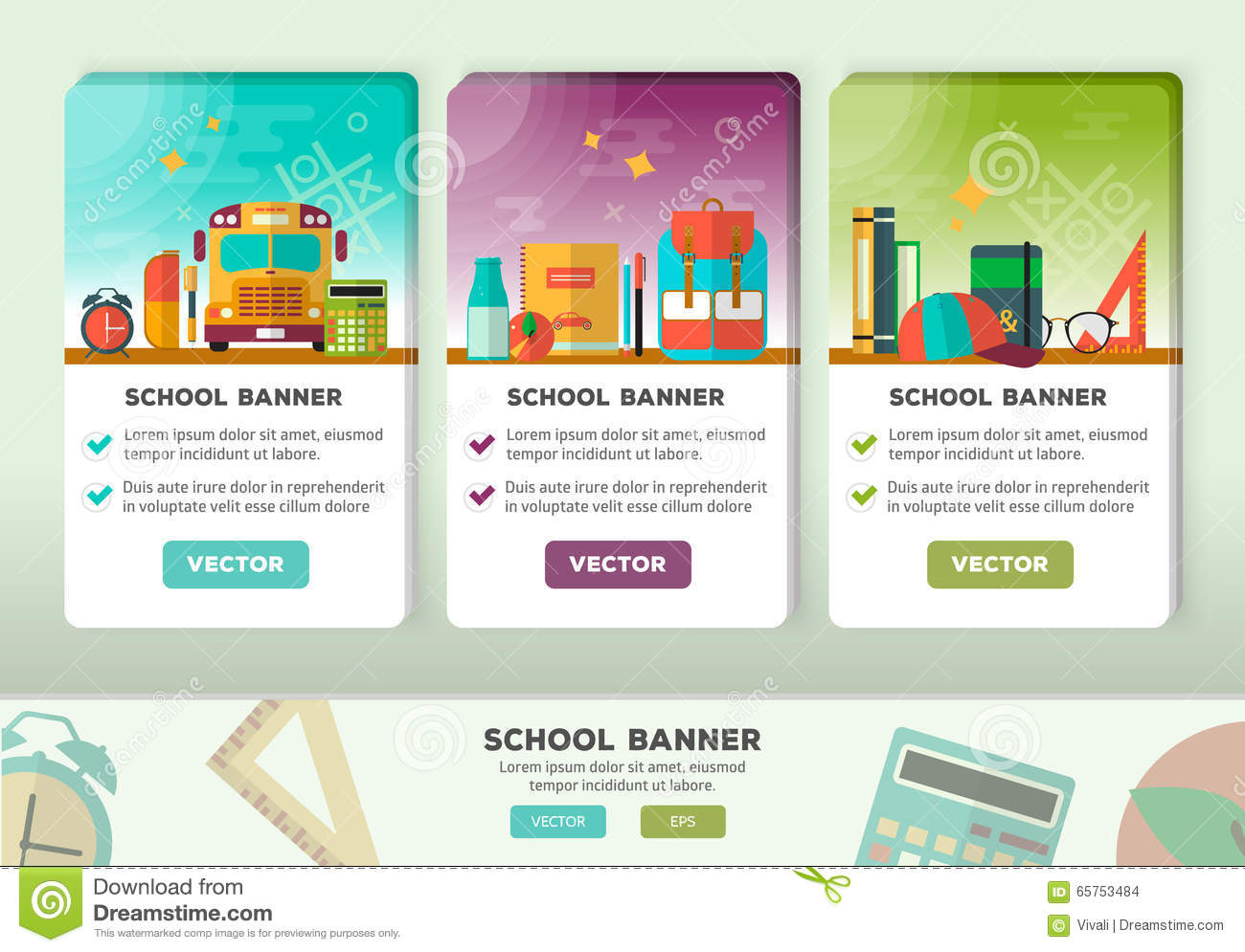 Vector Concepts Design Of Education Banner. Vertical Flat Banners ...