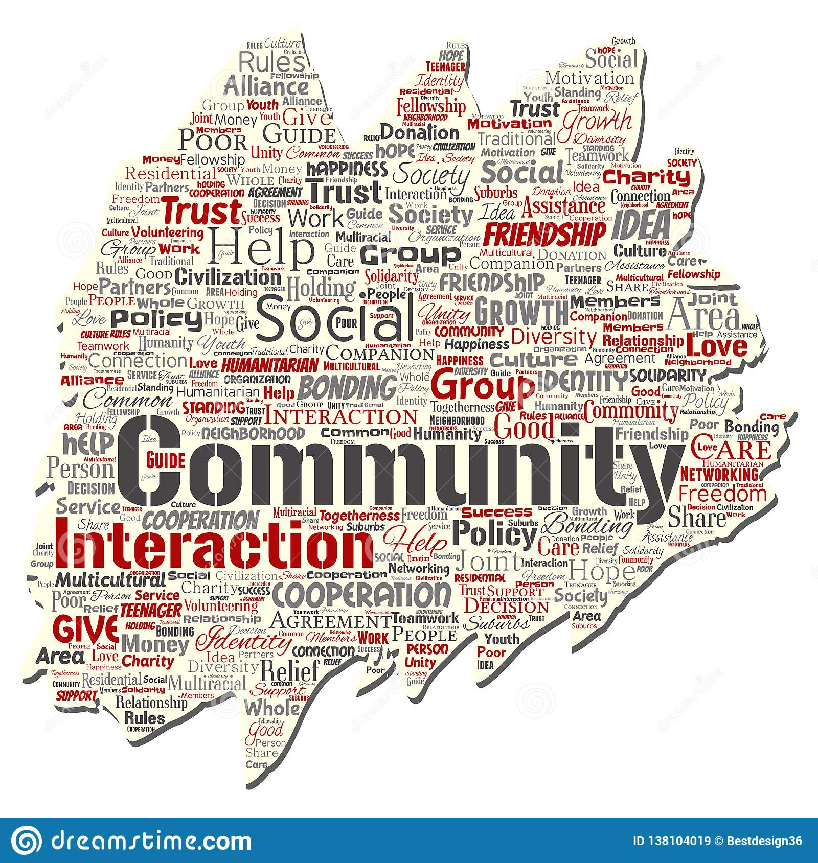 Vector community, social, connection word cloud