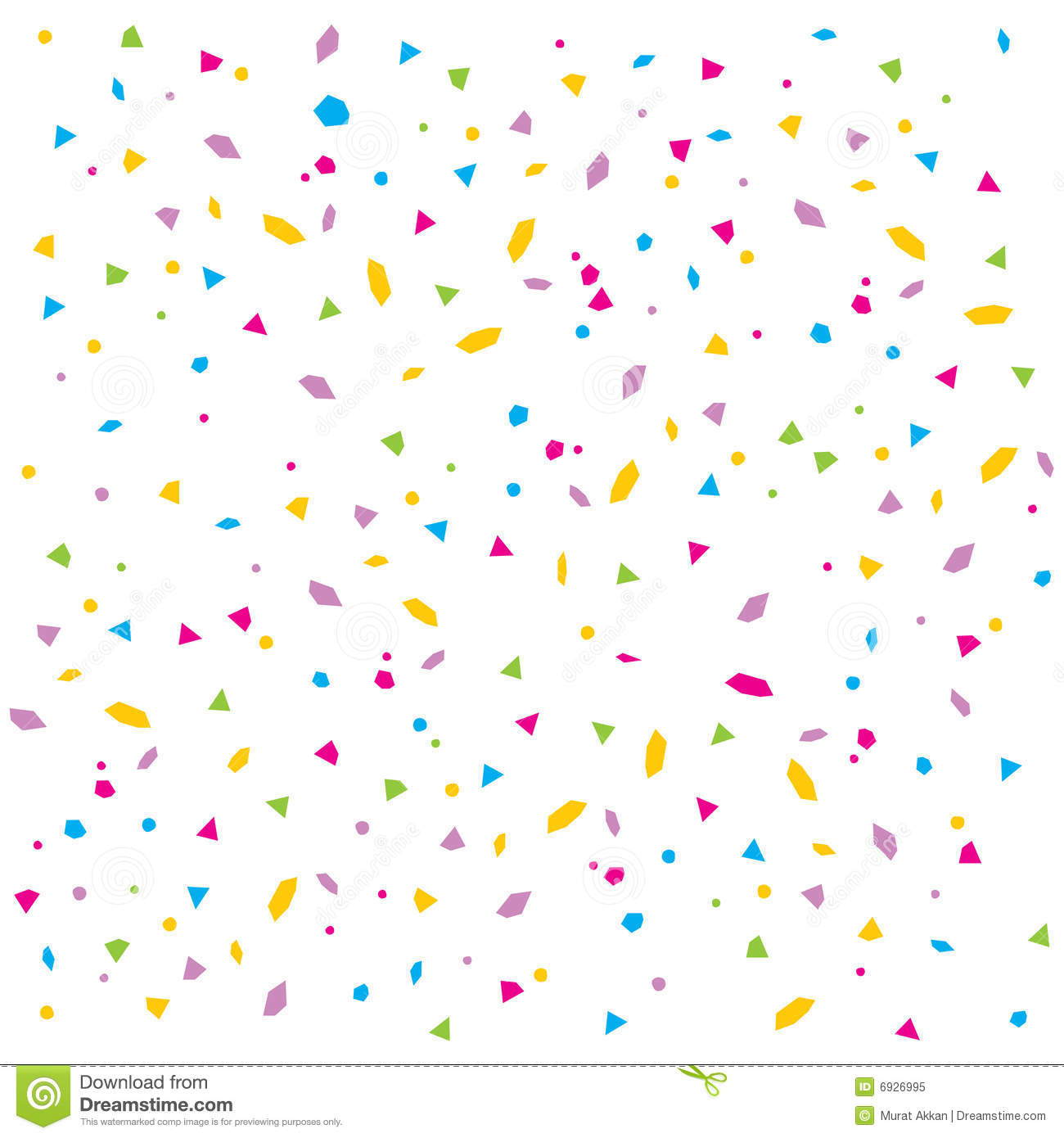 An illustration of colourful confetti rain on white isolated ...