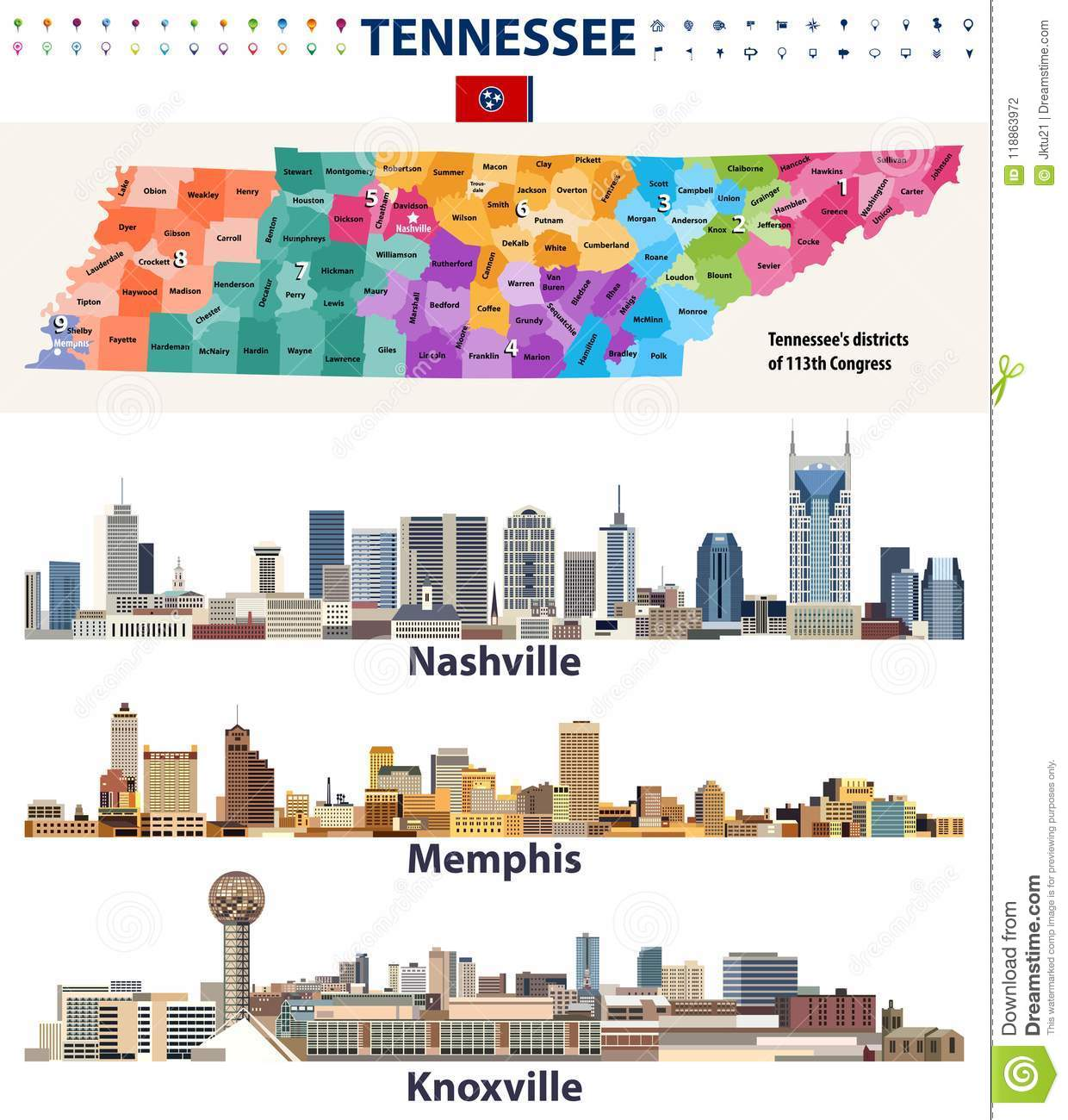 Tn State Map With Cities.Vector Congressional Districts Map And Major Cities Abstract