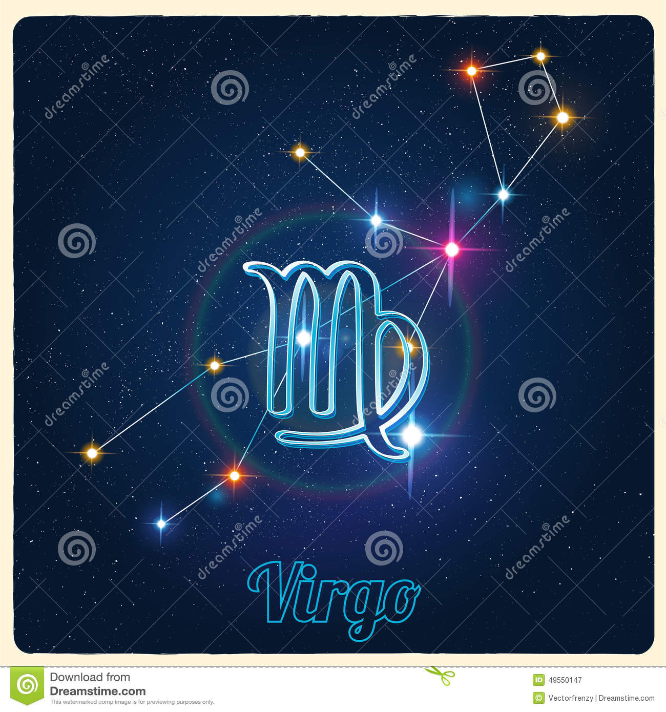 vector constellation virgo with zodiac sign stock vector image 49550147. Black Bedroom Furniture Sets. Home Design Ideas