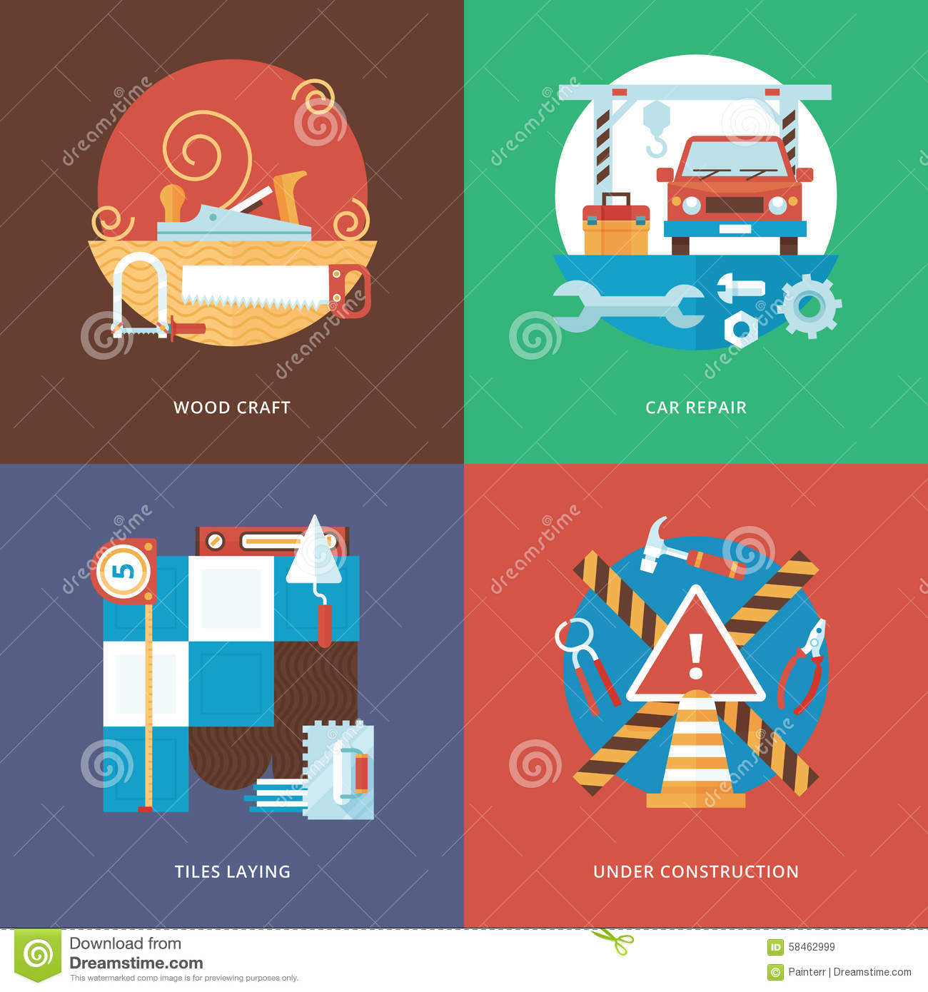 Vector Constructing Craft Services And Decoration Set For