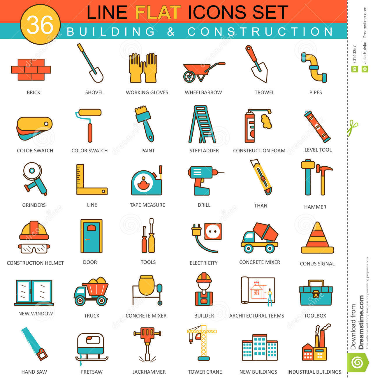 Vector construction and building tools flat line icon set for Outil de construction