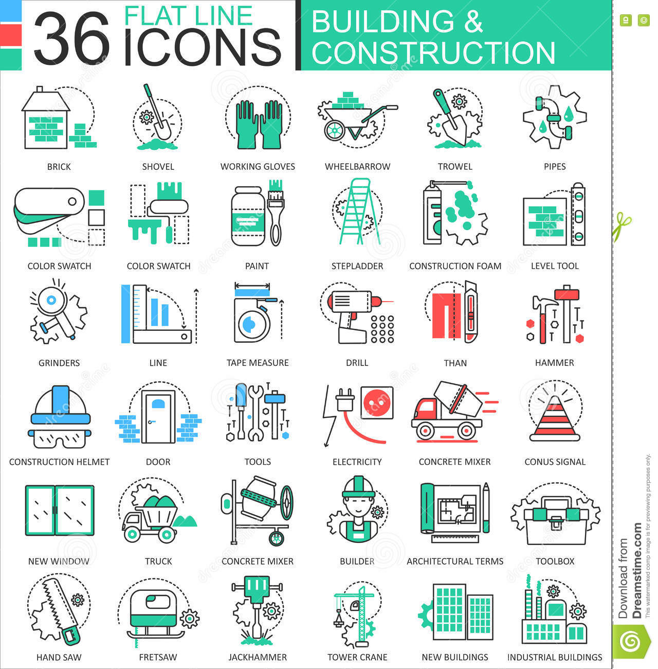 Modern colors web design - Modern Colors Web Design Vector Construction And Building Tools Modern Color Flat Line Outline Icons