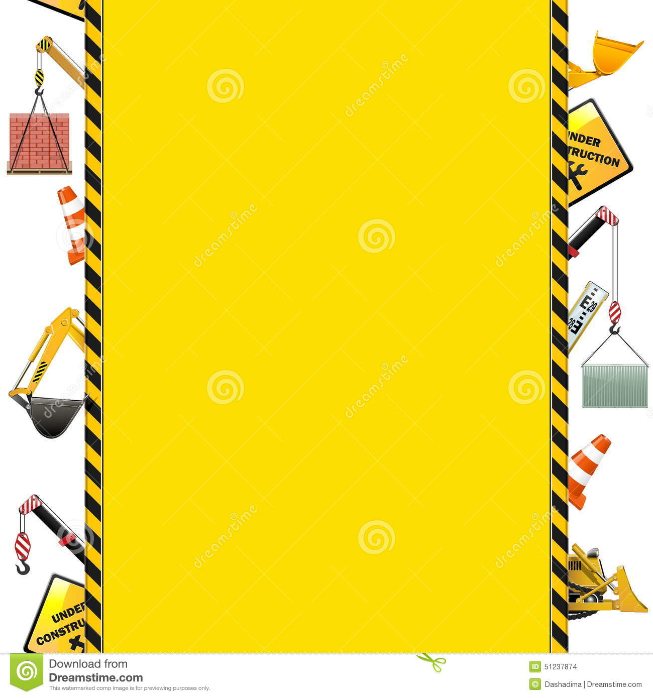 Vector Construction Frame With Machinery Stock Vector