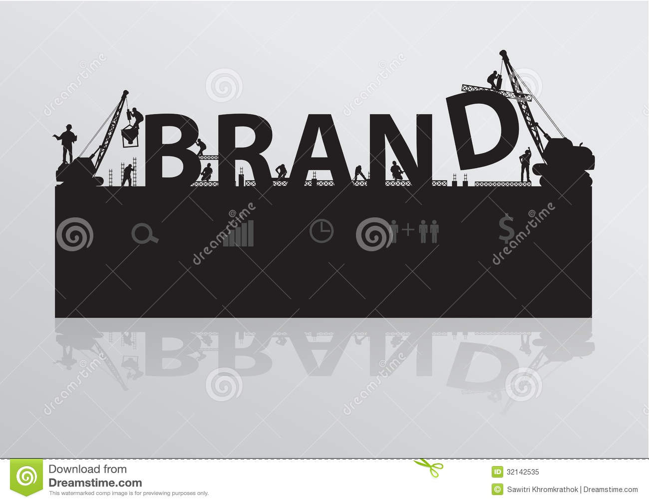 Vector construction site crane building brand text
