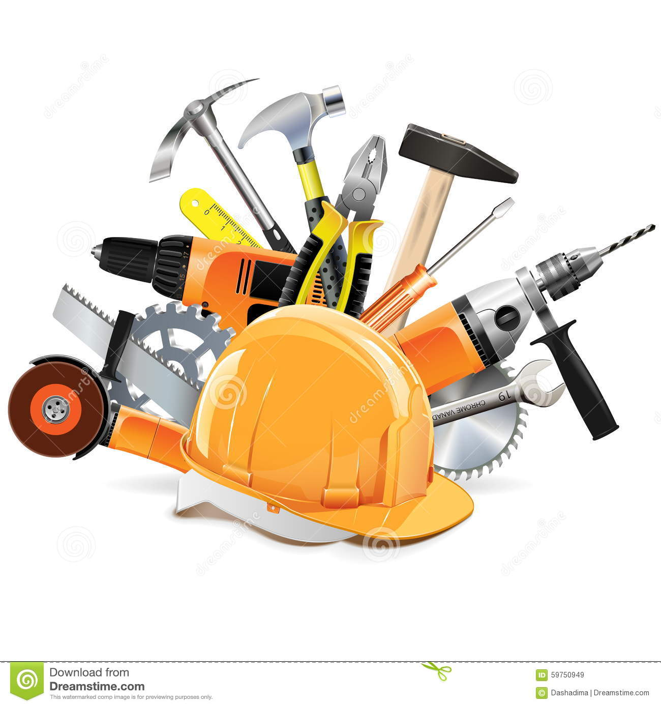 Vector Construction Tools With Helmet Stock Vector - Image ...