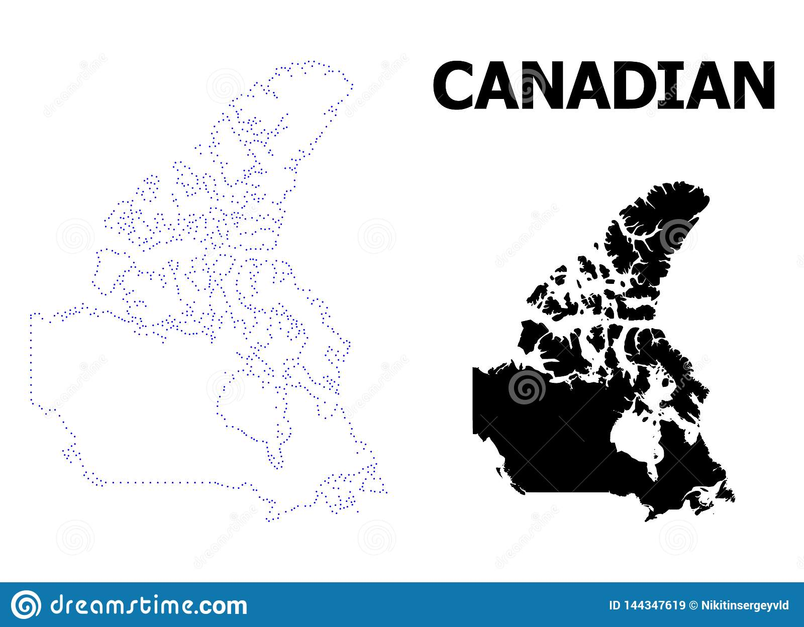 Simple Map Of Canada.Vector Contour Dotted Map Of Canada With Caption Stock Vector