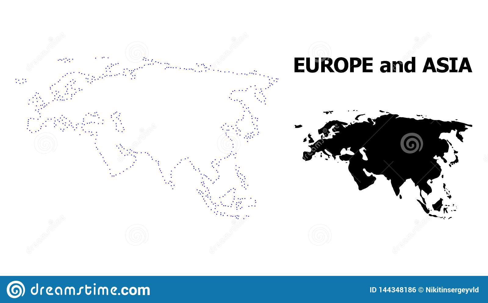 Map Of Asia Template.Vector Contour Dotted Map Of Europe And Asia With Caption Stock