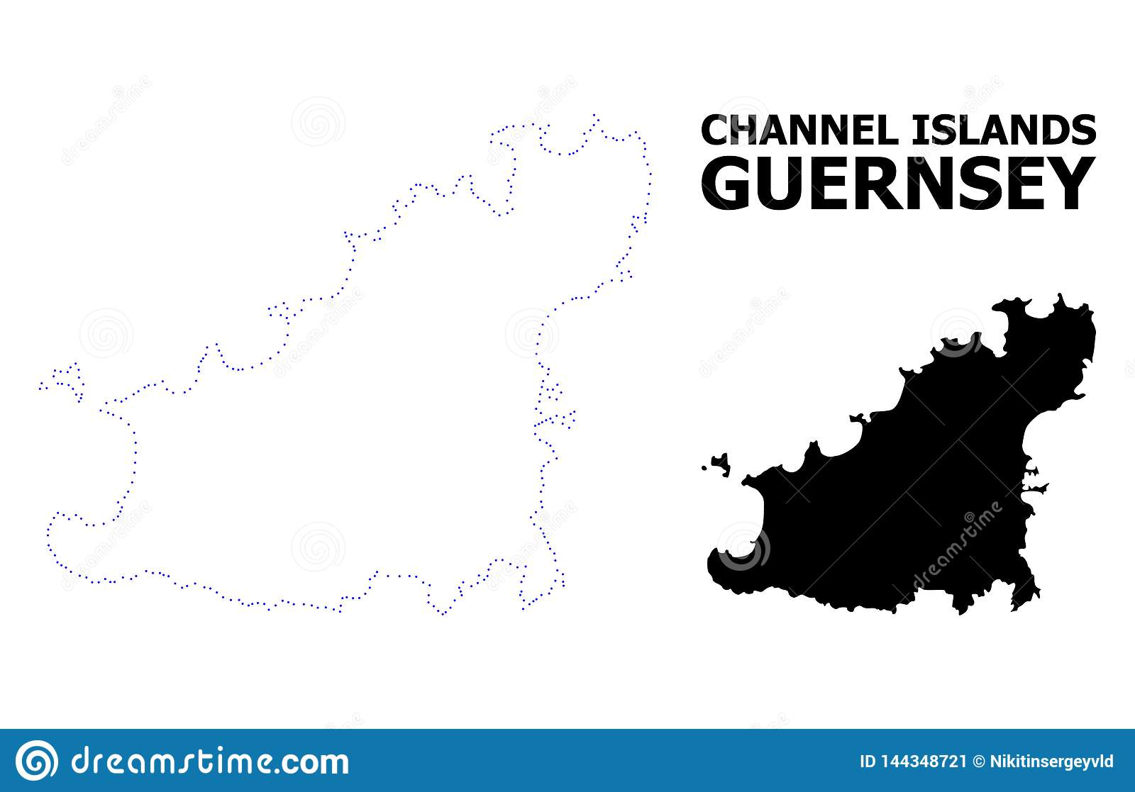 Vector Contour Dotted Map Of Guernsey Island With Name Stock ... on