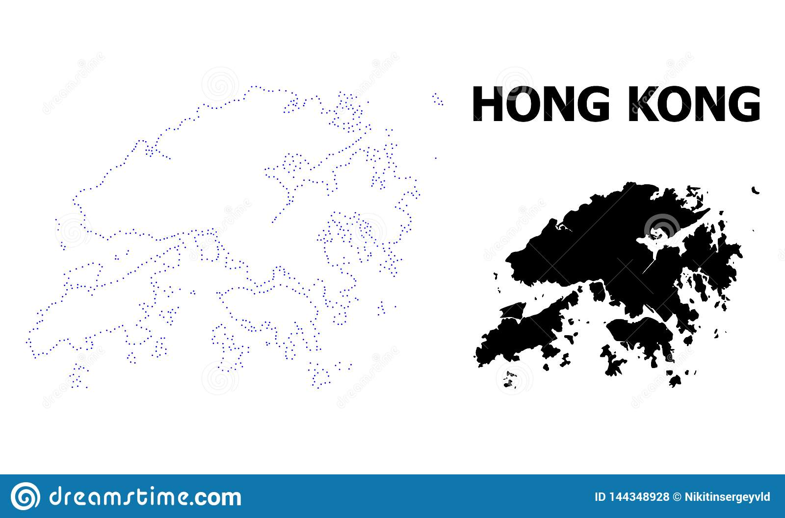 Vector Contour Dotted Map of Hong Kong with Caption