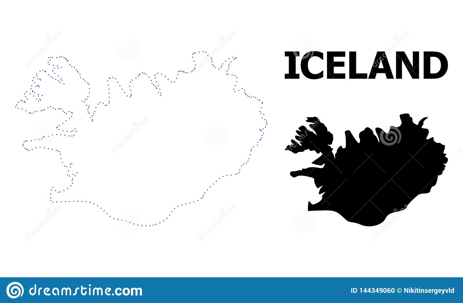 Vector Contour Dotted Map Of Iceland With Caption Stock ...
