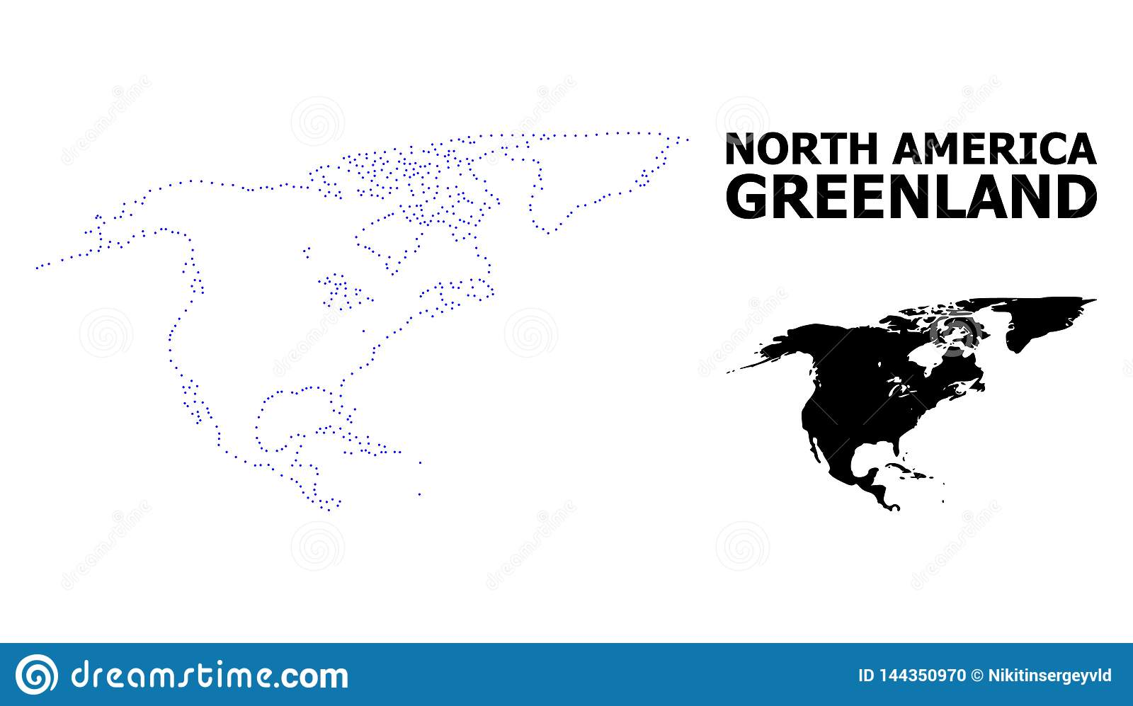 Vector Contour Dotted Map Of North America And Greenland ...