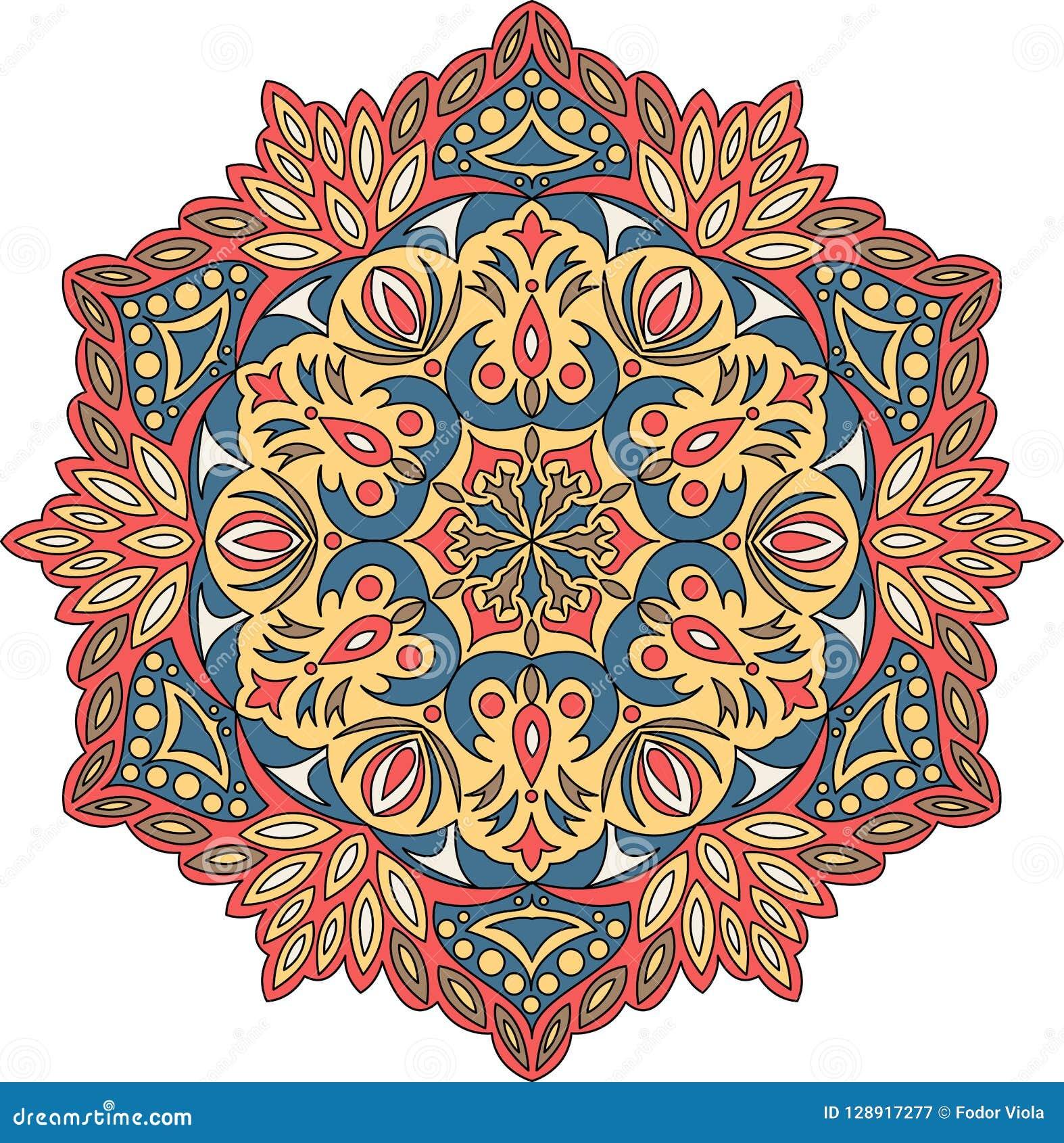 Vector contour Mandala ornament. Oriental round pattern.