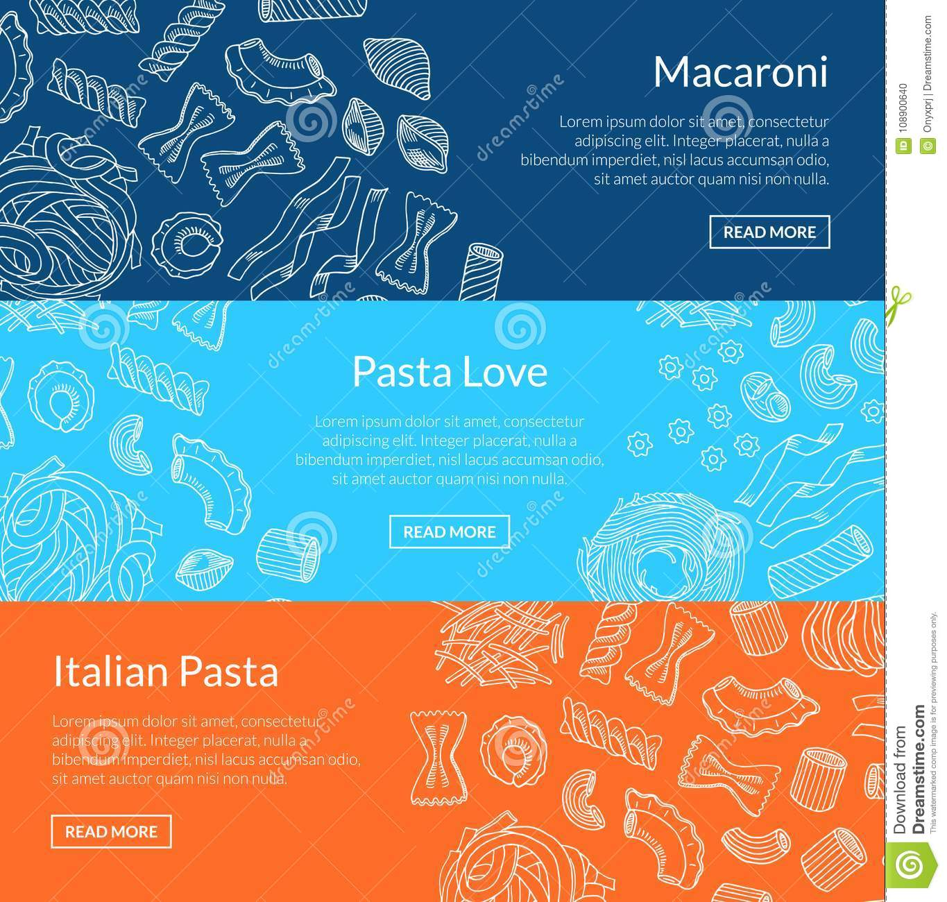 Vector contoured hand drawn pasta horizontal banner for Horizontal menu templates free download
