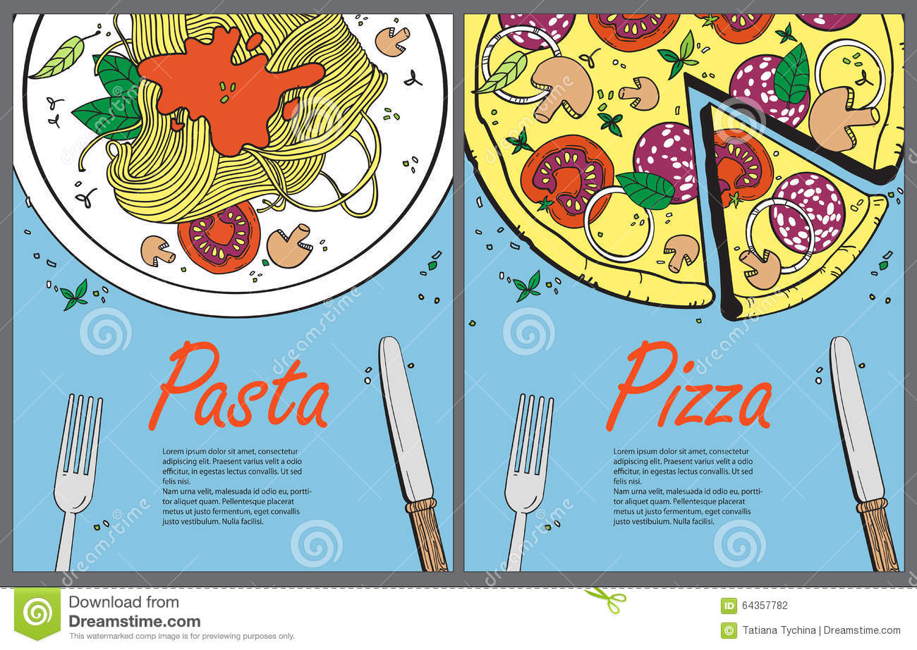 Vector Cooking Banner Template With Pizza And Pasta Illustration 64357782 Megapixl