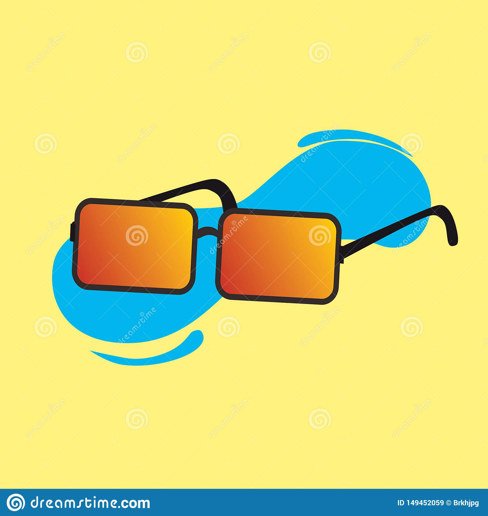 Vector of cool sun glasses with yellow background