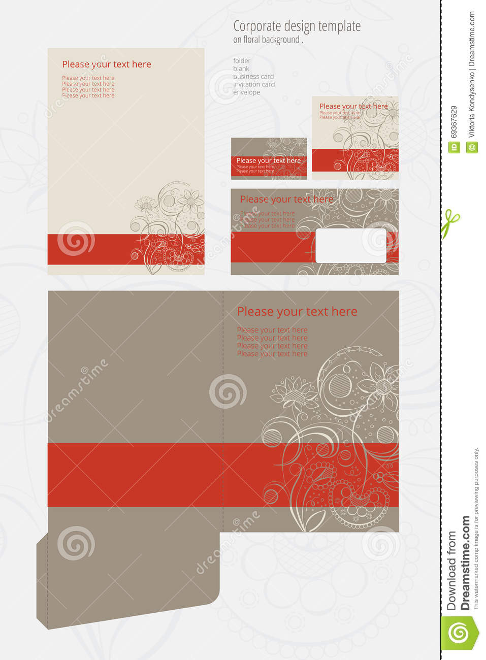 Vector Corporate Design Template On Floral Background Stock