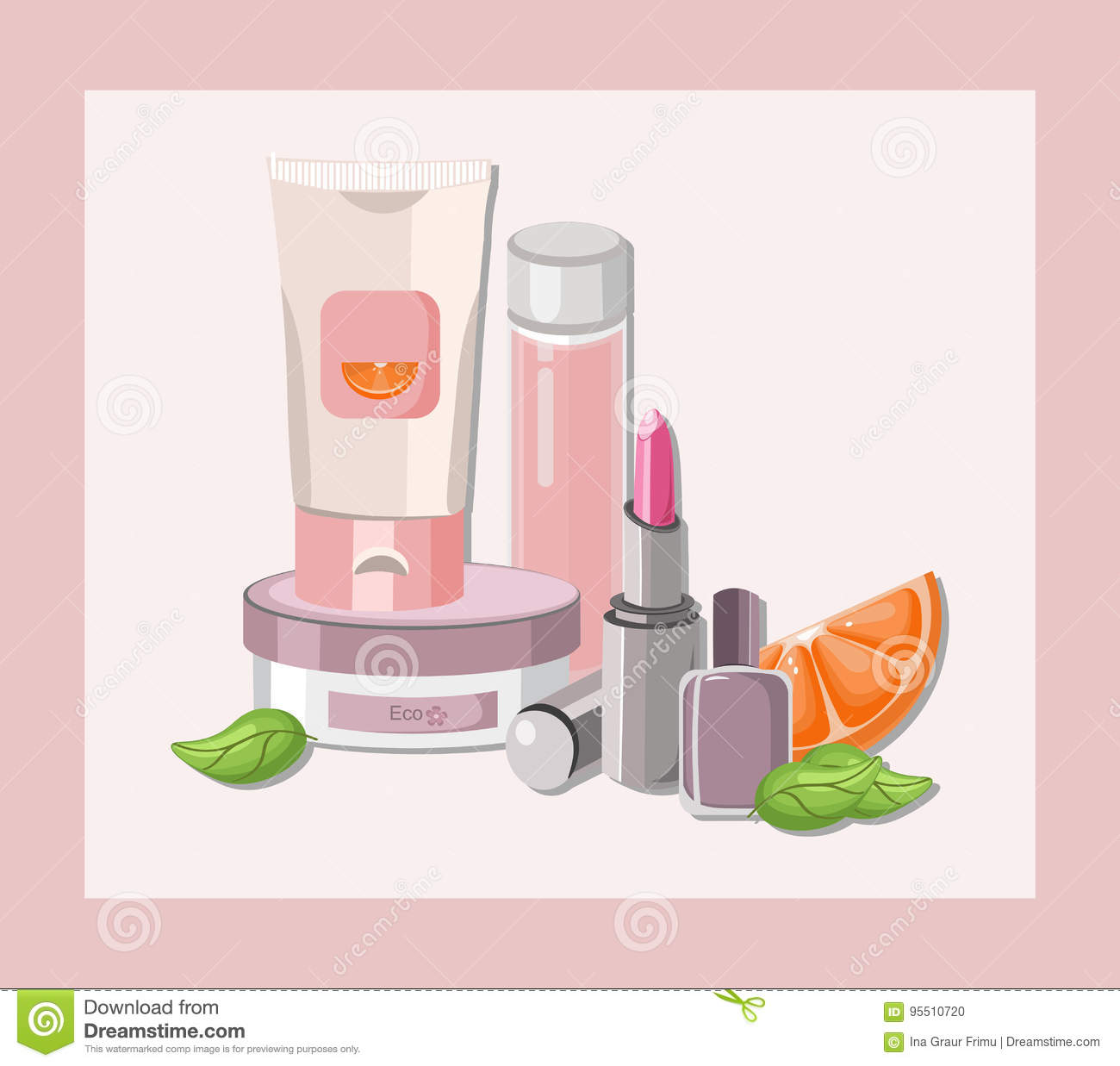 Nail Polish Package: Vector Cosmetics Set Package. Hydration Cream And Lotion