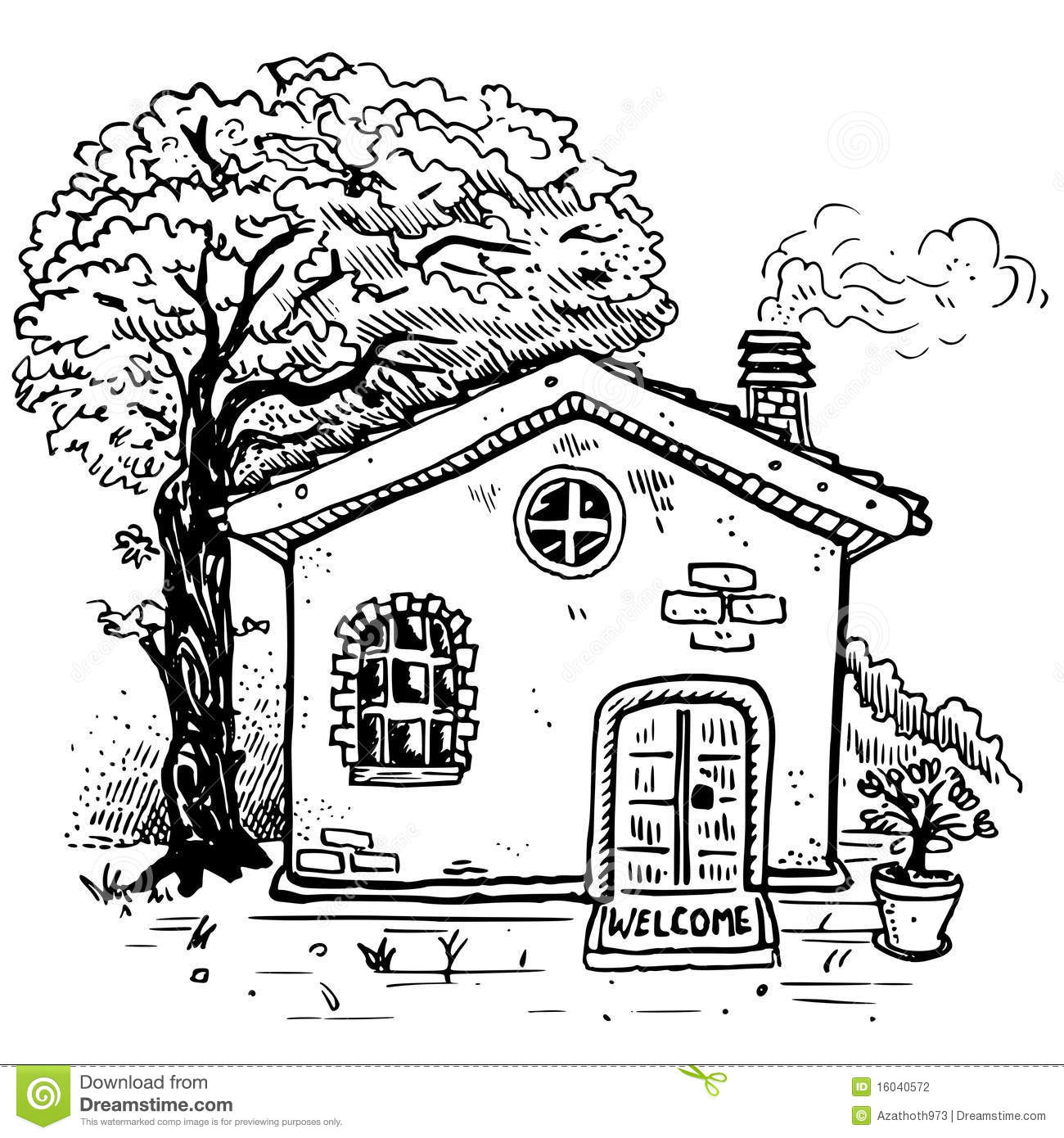 Vector country house stock vector. Illustration of plant ...