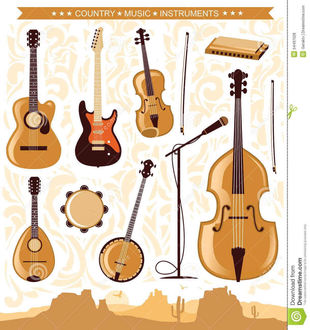 vector country music instruments for design stock vector image 54497028. Black Bedroom Furniture Sets. Home Design Ideas