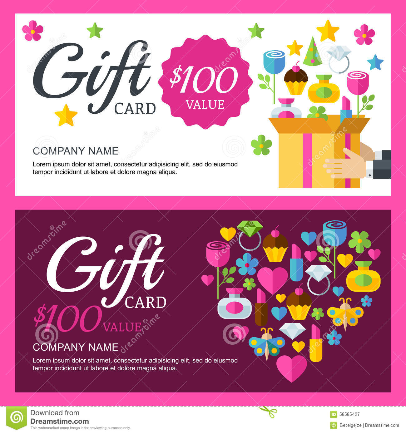 Vector Coupon Or Voucher Background Template. Box With ...