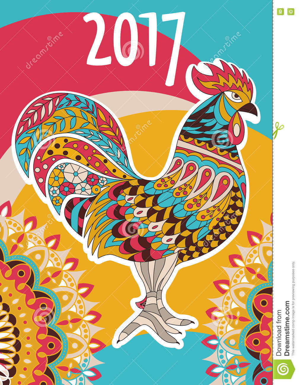 Vector Cover Calendar 2017. Colorful Rooster