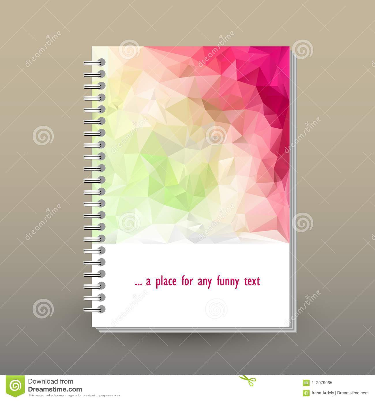 Vector cover of diary with ring spiral binder - format A5 - layout brochure concept - spring fresh colored with light