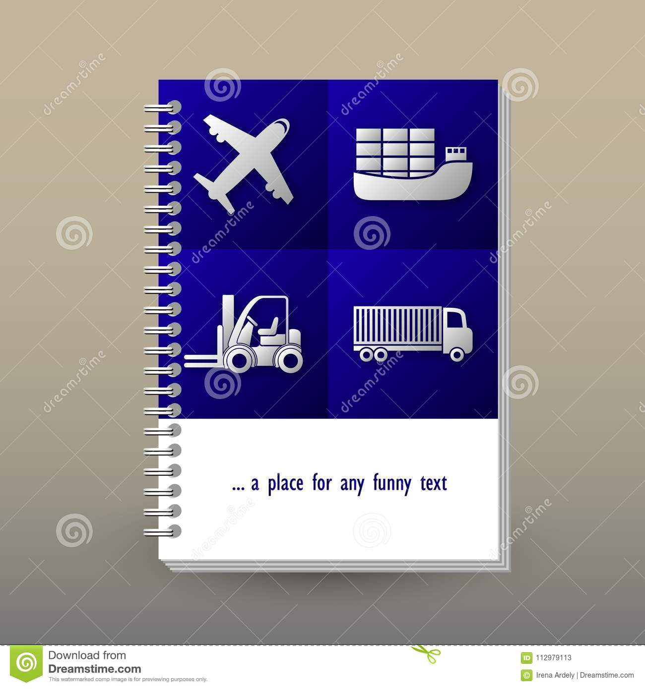 Vector cover of diary with ring spiral binder - format A5 - layout brochure concept - vibrant blue colored with gray t