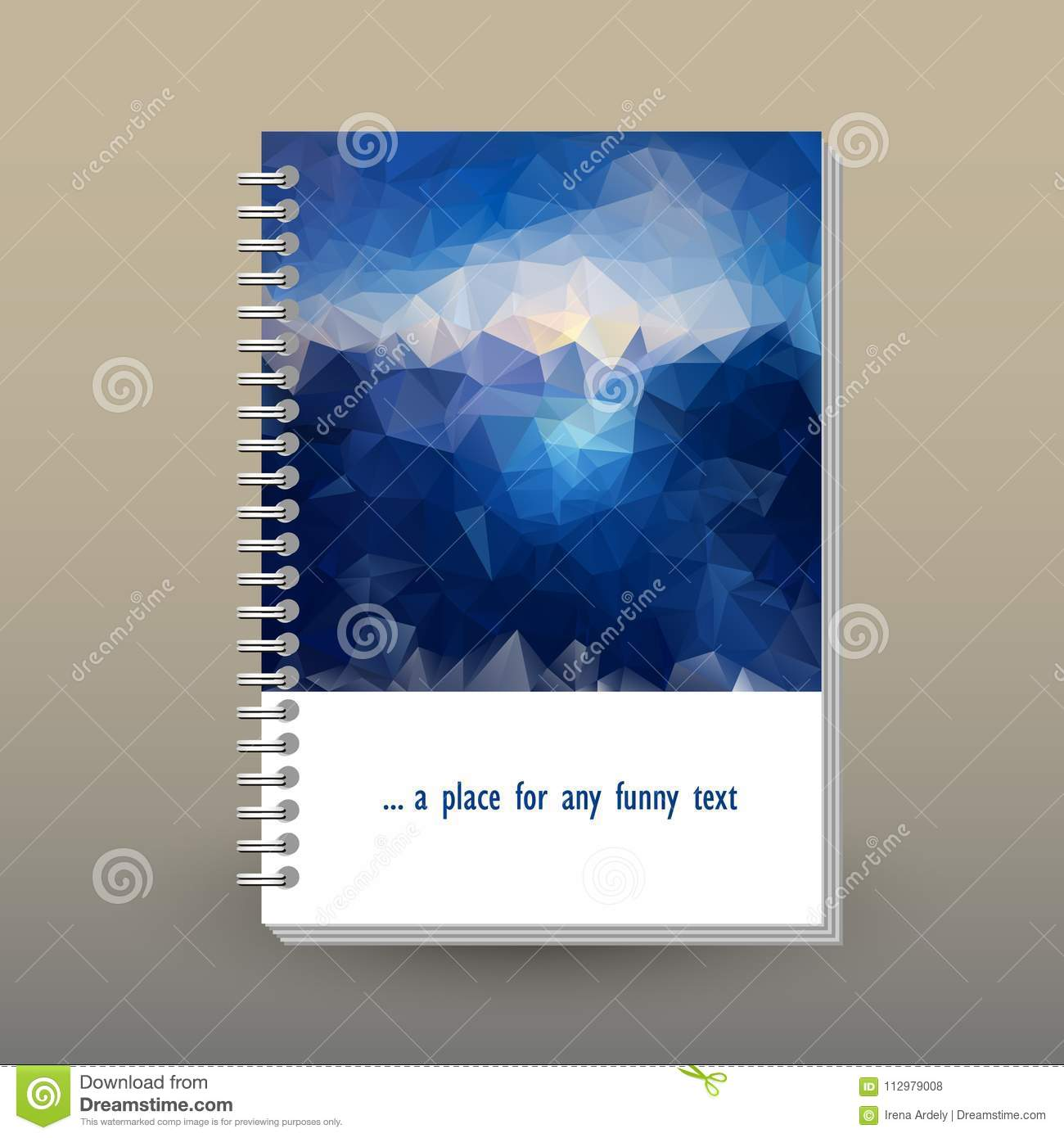 Vector cover of diary with ring spiral binder - format A5 - layout book concept - blue sky above sea level - sunrise