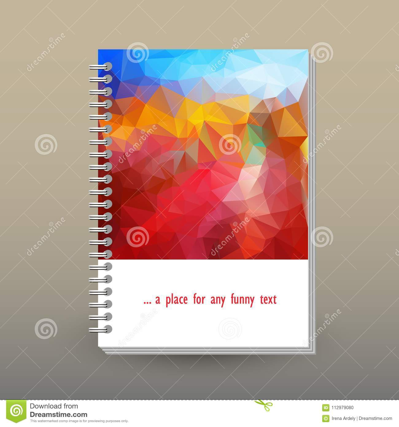 Vector cover of diary with ring spiral binder - format A5 - layout brochure concept - blue sky over red, orange and ye