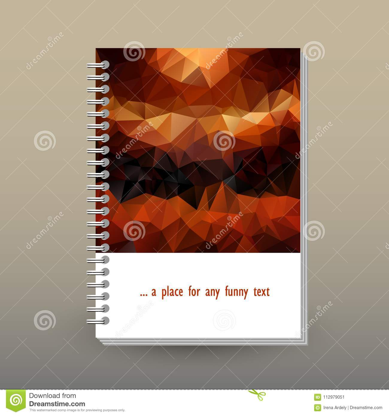 Vector cover of diary with ring spiral binder - format A5 - layout brochure concept - brown and orange colored with vi